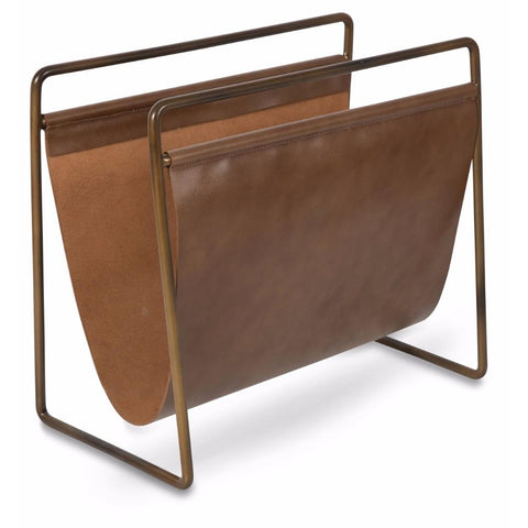 Leather Magazine Holder with Antique Brass Frame - Lost Design Society