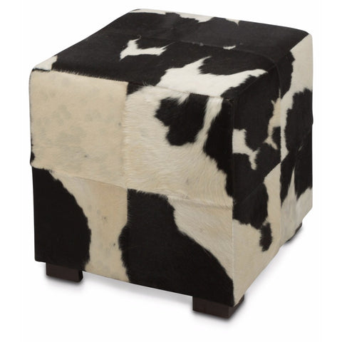 Cowhide Ottoman | Black & White | 45x45x45cm - Lost Design Society