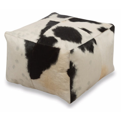 Cowhide Square Ottoman | Black & White | 50x50x30cm - Lost Design Society
