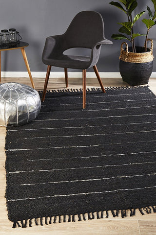 Saville Hemp Rug Black