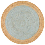 Round Jute Natural Rug Blue