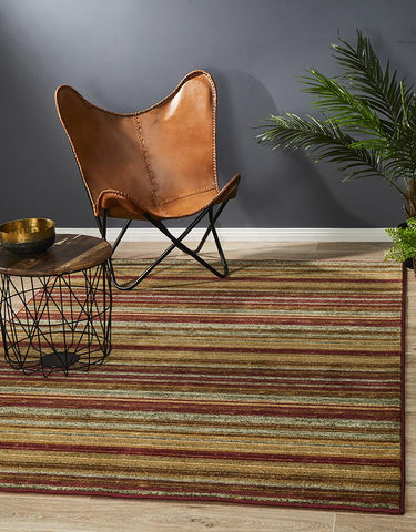 Anjar Rustic Striped Red Rug