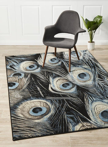 Whimsical Feathers Rug Navy