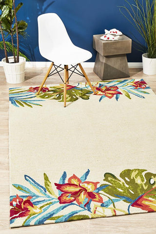 Anna Floral Indoor Outdoor Rug Cream - Lost Design Society