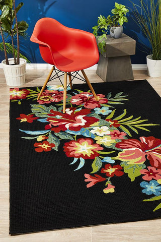 Kelsey Bouquet Black Indoor Outdoor Rug
