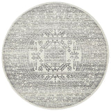 Aztec Silver Transitional Round Rug