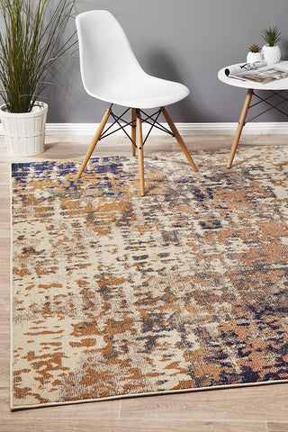 Sunita Contemporary Rug Rust Navy