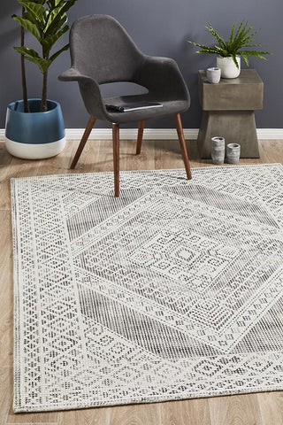 Chateau Millie Transitional Woven Black & White Rug