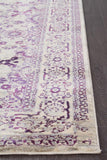 Isfahan Transitional Modern Abrash Rug Aubergine White Grey