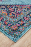 Vintage Worn Thin Distressed Eternal Diamond Blue Rug