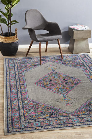 Vintage Worn Thin Distressed Eternal Diamond Grey Rug