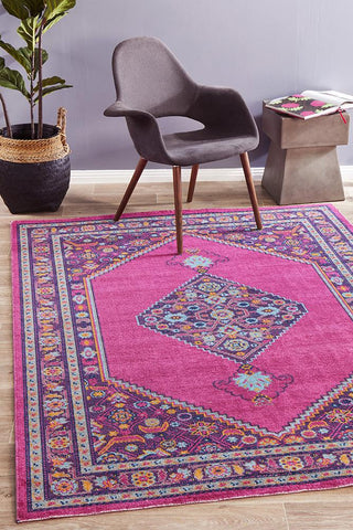 Vintage Worn Thin Distressed Eternal Diamond Pink Rug