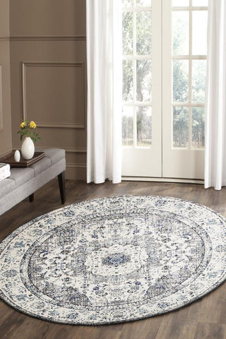 Mist White Transitional Round Rug