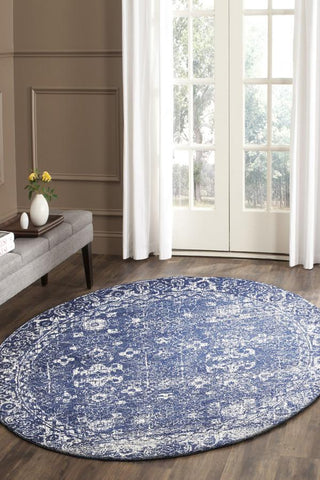 Oasis Navy Transitional Round Rug