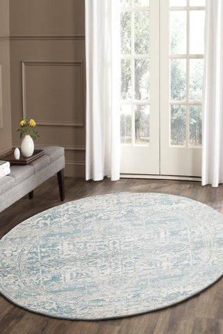 Glacier White Blue Transitional Round Rug