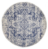 Horizon White Navy Transitional Round Rug