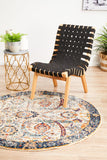 Peacock Ivory Transitional Round Rug