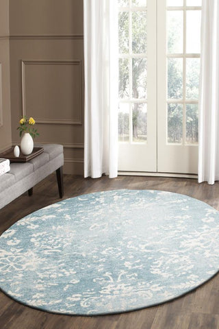 Skyline Blue Transitional Round Rug