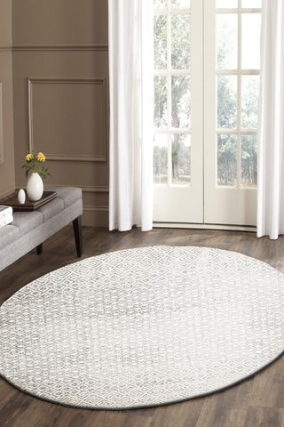 Diamond Grey Transitional Round Rug