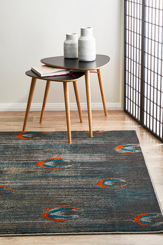 Sacred Peacock Feather Rug Grey Blue Rust