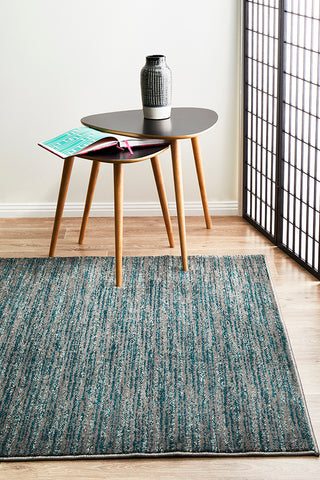 Sacred Contemporary Stripe Rug Blue Grey