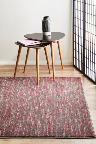 Sacred Contemporary Stripe Rug Pink Grey