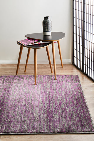 Sacred Contemporary Stripe Rug Aubergine Grey