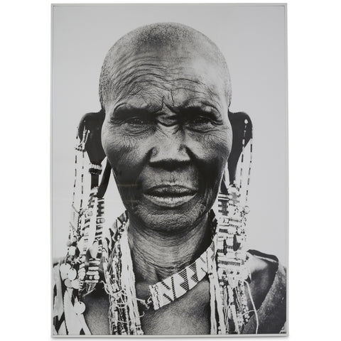 Tribal African Woman Framed Black & White Wall Art - Lost Design Society