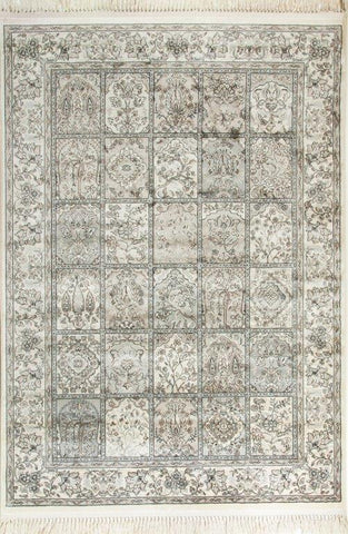 Medieval Traditional Viscose Rug Ivory