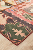 Pure Wool Medium Red Salmon & Multi Persian Tribal Hand Knotted Patchwork Kilim Rug