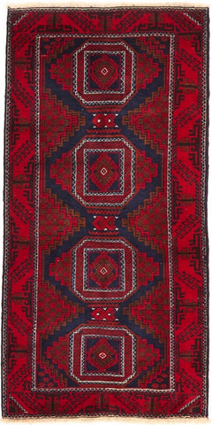 High Quality Wool Small Red & Navy Balouchi Persian Rug
