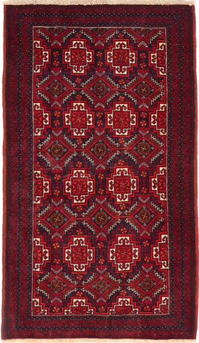 High Quality Wool Small Red Balouchi Persian Rug