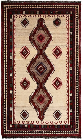 High Quality Wool Medium Natural & Red Shiraz Persian Rug