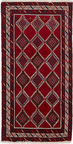 High Quality Wool Small Red & Multi Balouchi Persian Rug II