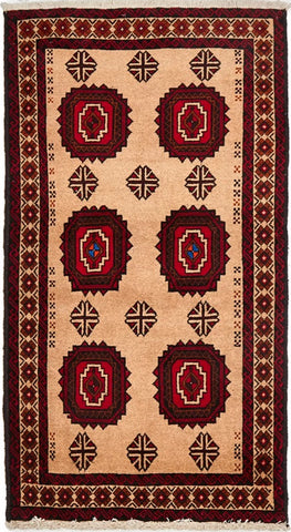 High Quality Wool Small Red & Multi Balouchi Persian Rug VI