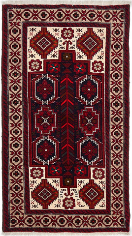 High Quality Wool Small Red & Multi Balouchi Persian Rug VII
