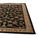 Traditional Floral Design Rug Black