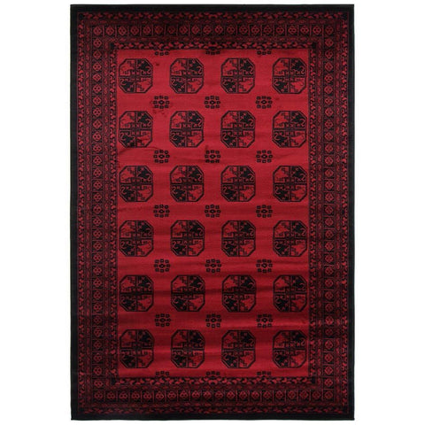 Classic Afghan Design Rug Red - Lost Design Society