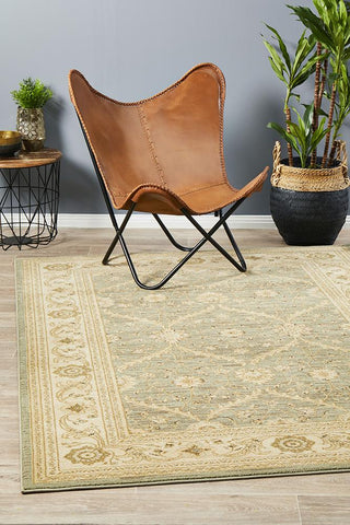 Chobi Design Rug Light Green Bone