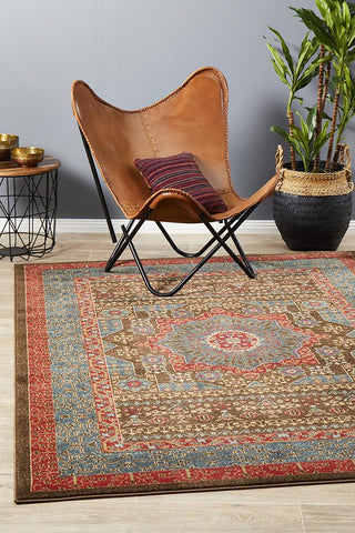 Antique Heriz Design Rug Brown Red Blue