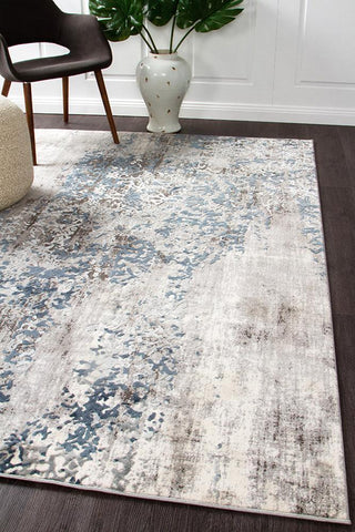 Mist Breeze Distressed Modern Rug Blue Grey White