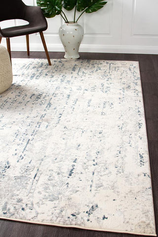Mist Cloud Distressed Contemporary Rug White Blue Grey