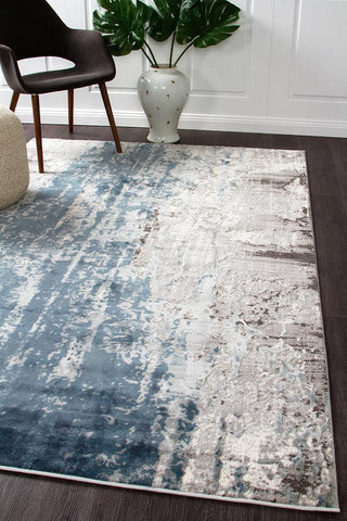 Mist Sea Distressed Timeless Rug Blue Grey White