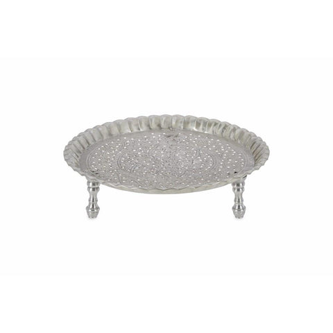 Round Aluminium Tray with Ruffle Edge and Kashmiri Cutwork on Legs - Lost Design Society