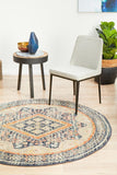 Estate Manse Navy Round Transitional Rug