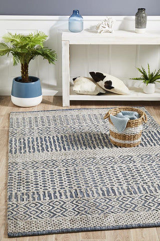 Demre Navy Grey Transitional Rug