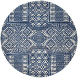 Zelda Grey Navy Round Transitional Rug