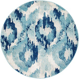 Lesley Whimsical Blue Round Transitional Rug