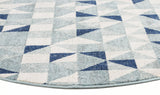 Illusion Modern Geo Blue Ivory Round Transitional Rug