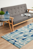 Illusion Modern Geo Blue Ivory Transitional Rug